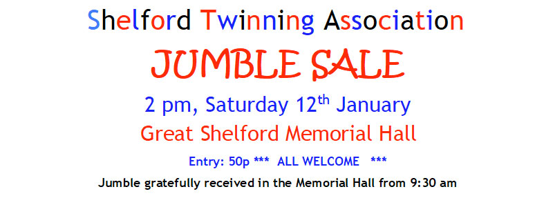 Jumble Sale, 2pm Saturday 12th January, Great Shelford Memorial Hall, Entry 50p, All Welcome, Jumble Gratefully received in the Memorial Hall from 9:30am